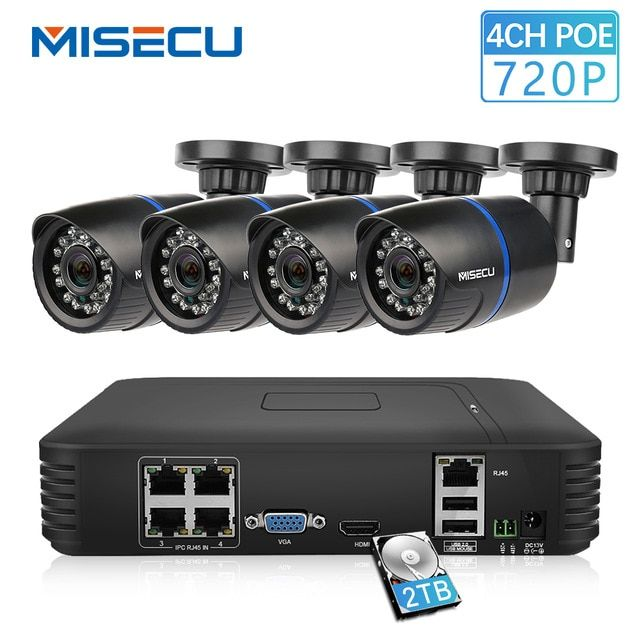 8CH HDMI NVR 8Pcs Outdoor 720P PoE IR Night Vision Camera Home Security System