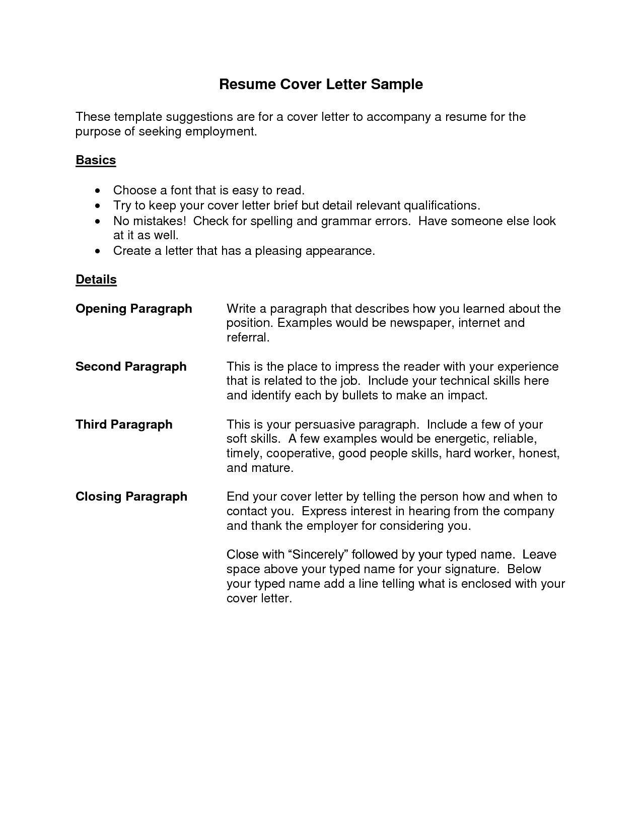 Cover Letter Resume Best TemplateSimple Cover Letter Application – Sample Resume Letter