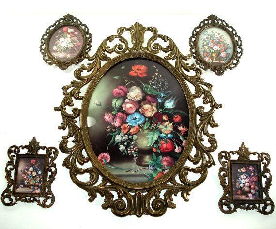 Vintage 5 Piece Set Of Italian Brass Metal Framed Floral