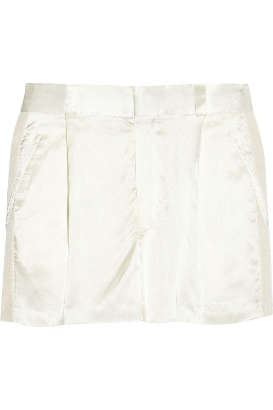 HAIDER ACKERMANN Grosgrain-Trimmed Silk-Satin Shorts. #haiderackermann #cloth #shorts