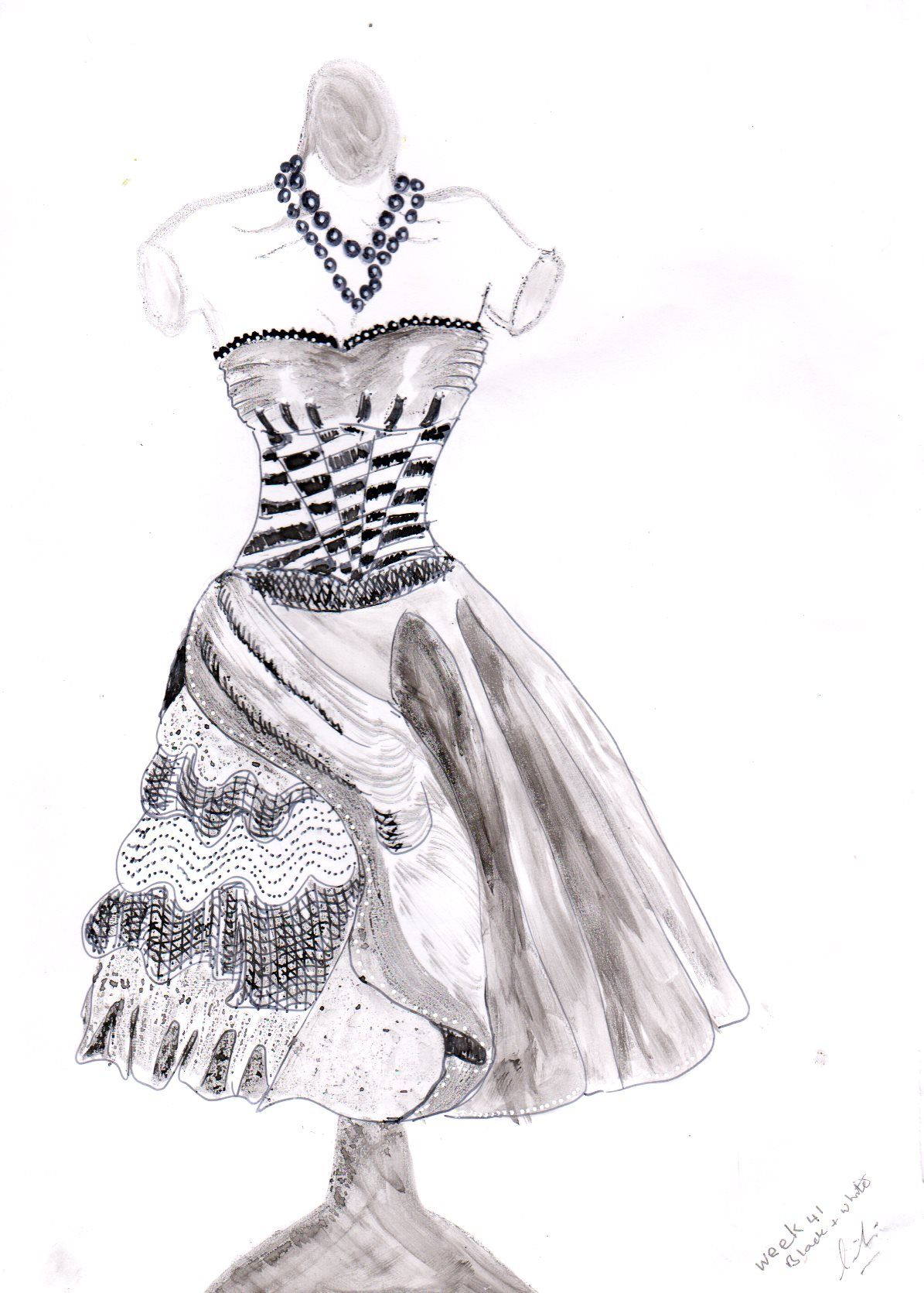 Week theme black and white title gown ink and fine liner on