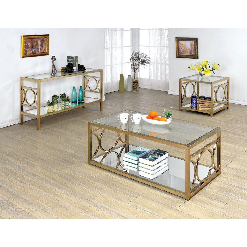 Furniture of America Nadya Circle Accented 3 Piece Coffee Table Set - IDF-4166CRM-3PC