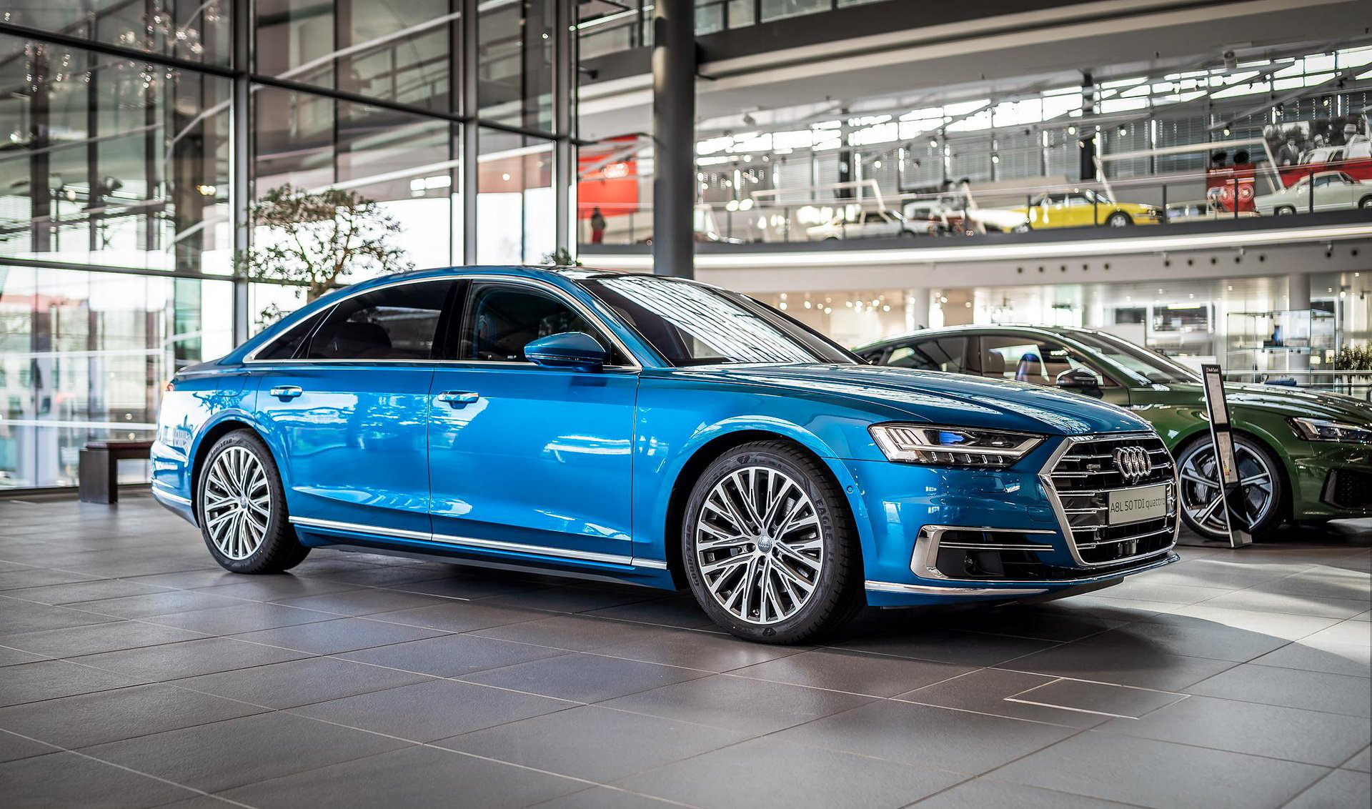 New Audi A8 With Audi With Exclusive Ara Blue Crystal Metallic 3 100 Option Carmojo This Audi A8l Also Has Plenty Of Blue On Audi Audi A8 Blue Crystals