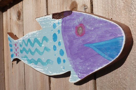 Painted Wooden Folk Art Fish Made from Repurposed by OceanThings, $24.00