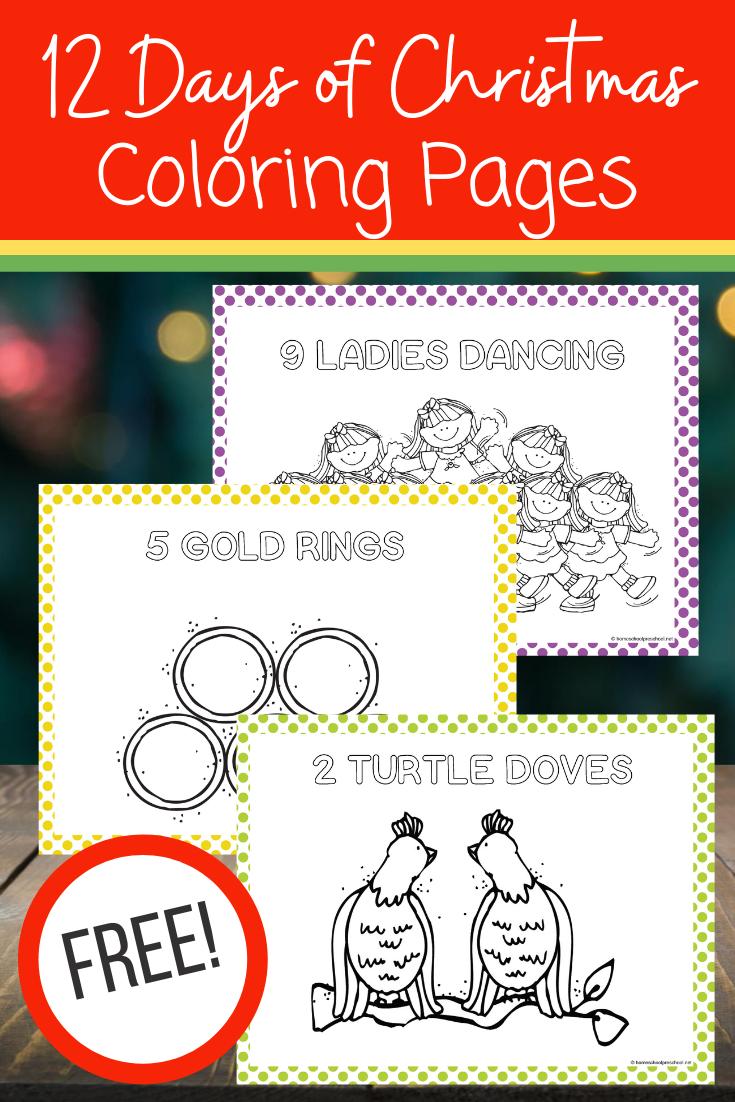 12 Days Of Christmas Coloring Pages Christmas Preschool Printables Preschool Christmas Activities Christmas Worksheets [ 1102 x 735 Pixel ]