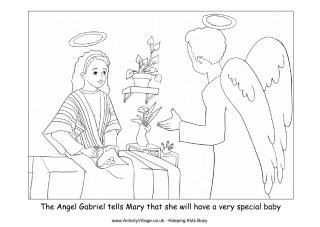 Angel Gabriel Visits Mary Colouring Page