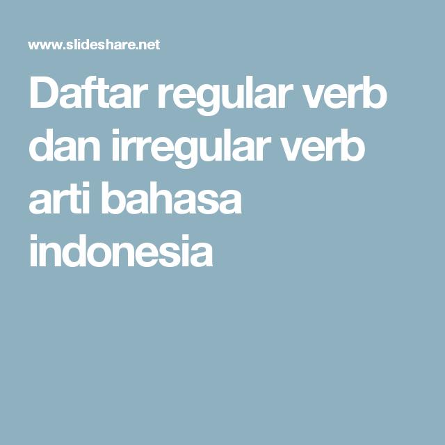 Regular Dan Irregular Verb Beserta Artinya Pdf