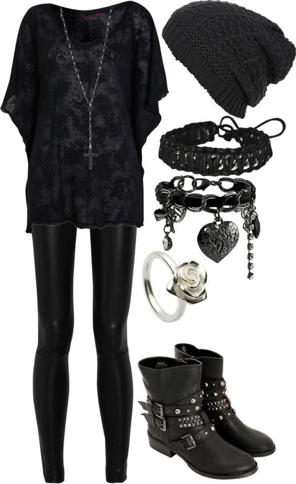 Image result for gothic outfit. What I think Annette would wear.