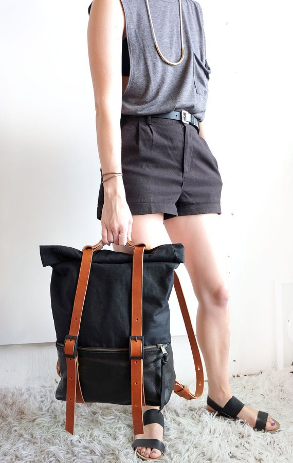 The Ace Backpack in Black Leather & Black Waxed Canvas - Unisex Travel Bag Rucksack - Awl Snap Leather Goods