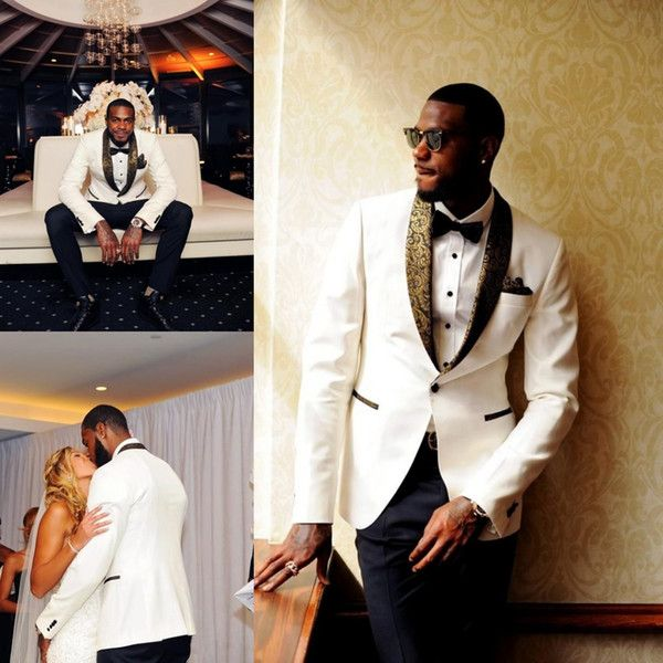 Handsome White Wedding Tuxedos Slim Fit Gold Pattern Laple Suits For Men One On Groom Suit Only The Jacket And Handkerchief As Low 62 6