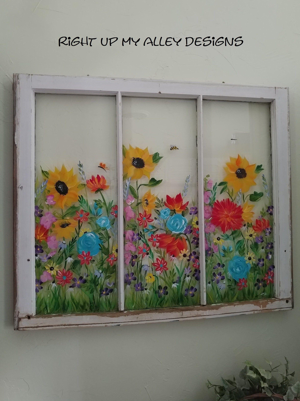 Painted Windowsfarmhouse Windowrepurposed Windowsvintage Etsy Vintage Windows Window Painting Repurposed Windows