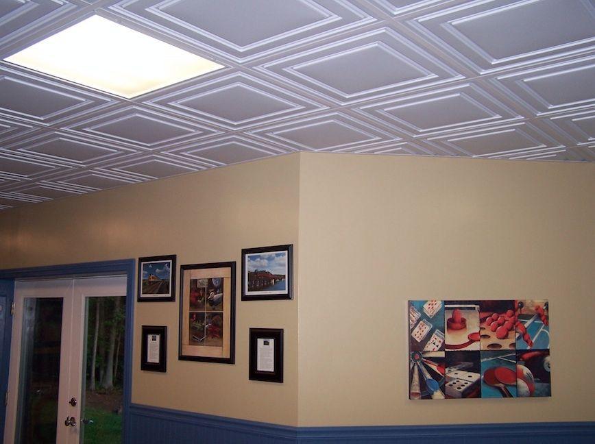 Ceilume 39 s stratford ceiling tiles in white remodel ideas - Living room ceiling tiles ...