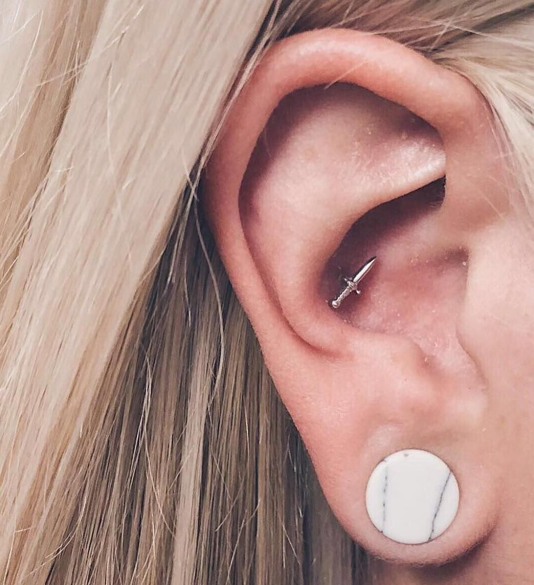 Conch Piercing By Gina Lillygee7 Featuring The Bvla Dagger Done