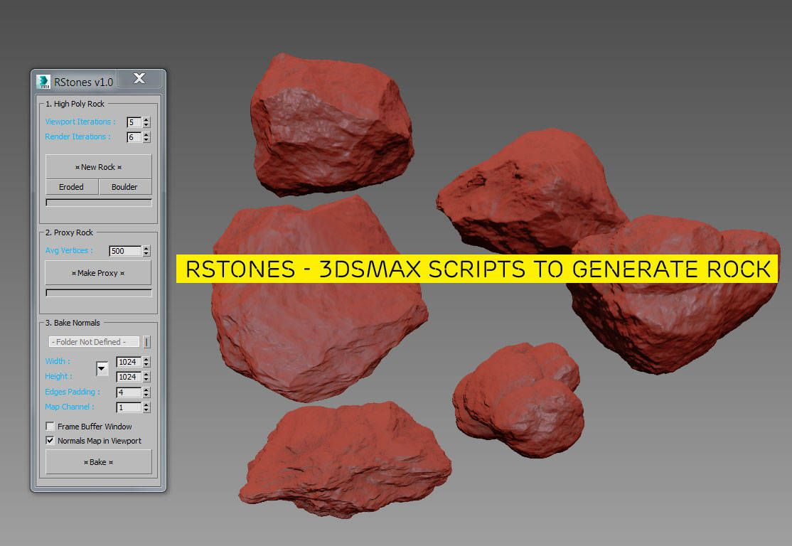 Rstones 3dsmax Scripts To Generate Rock Script Generation Model