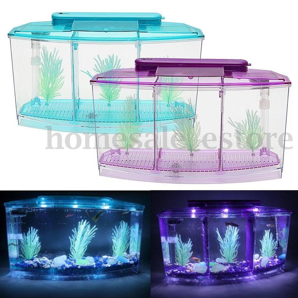 New Triple Cube Led Light Betta Aquarium Separate Spawning Box Fish Tank 0 7gel Ebay Betta Fish Tank Betta Aquarium Plastic Fish Tank
