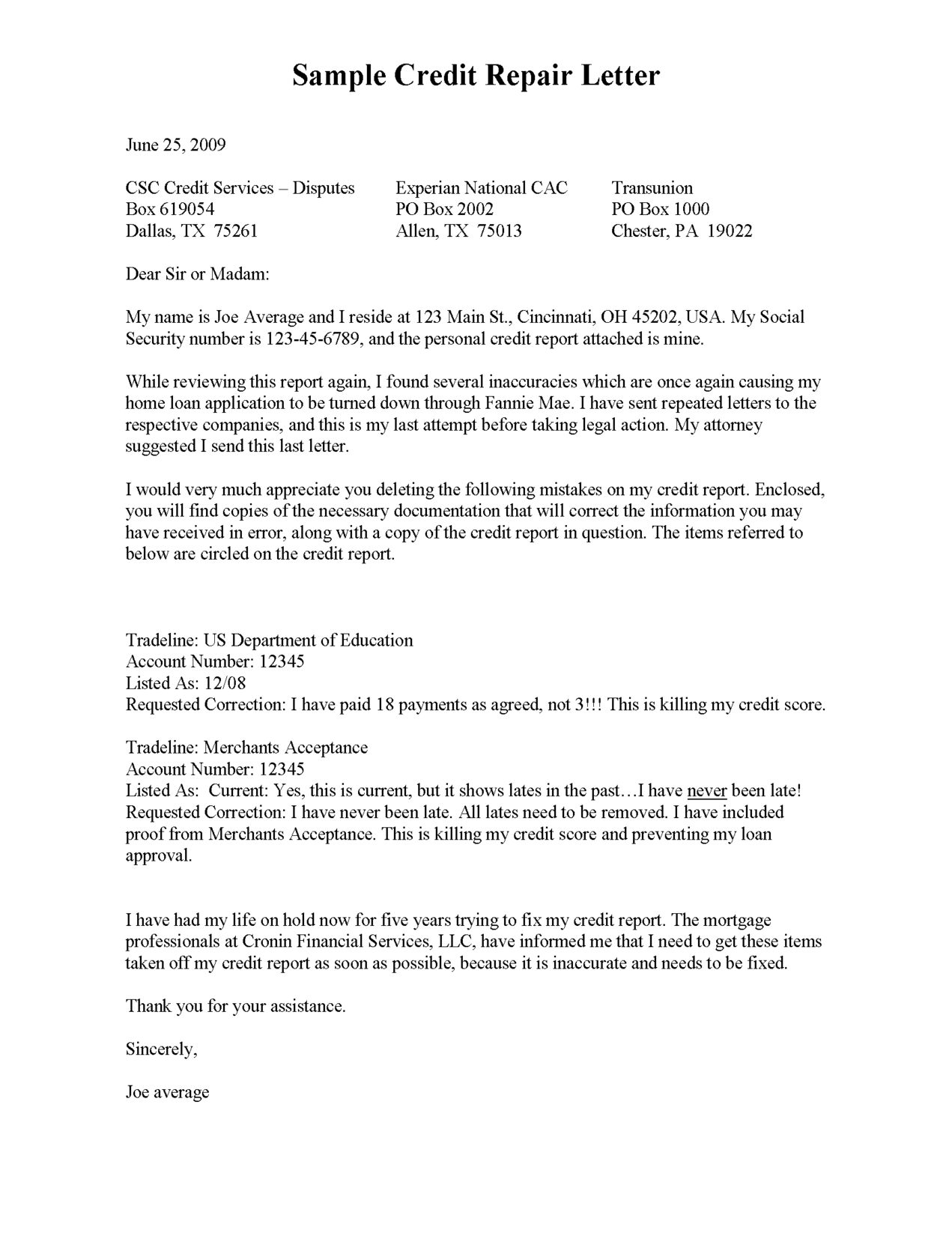 Credit Report Dispute Letter Template Credit Repair SECRETS ...