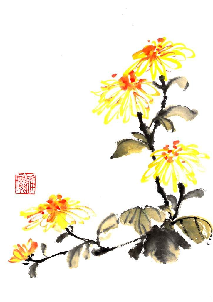 Ink brush painting crysanthemum 4x5 blank printed greeting card is ink brush painting crysanthemum 4x5 blank printed greeting card is now available at arts market leslieville location 1114 queen street toronto on canada m4hsunfo