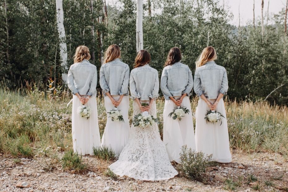 Is This Real Life An Intimate Mountain Top Wedding In Utah White Bridesmaid Dresses Utah Wedding Photographers Bridal Jacket