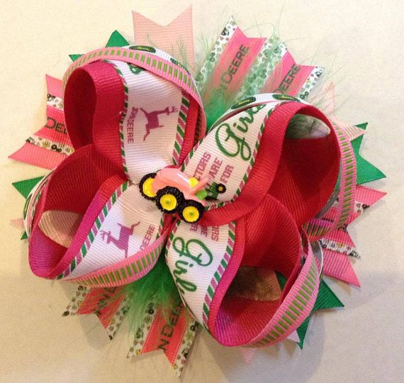 15 John Deere Inspired Boutique Hair Bow Tractor Hair | Bows Chloe ...