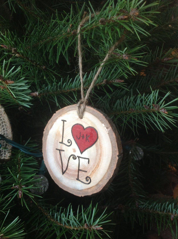 Couples ornament custom wood burned love valentines