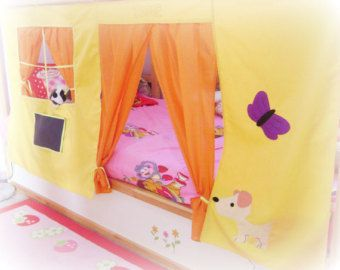 Bunk bed Playhouse / Bed tent / Loft bed curtain - free design and colors customization & Letto a castello Playhouse / letto tenda / di CreativePlayShop ...