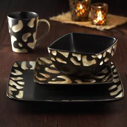 @Overstock - With a white and black giraffe pattern these American Atelier dinnerware pieces & Overstock - With a white and black giraffe pattern these American ...