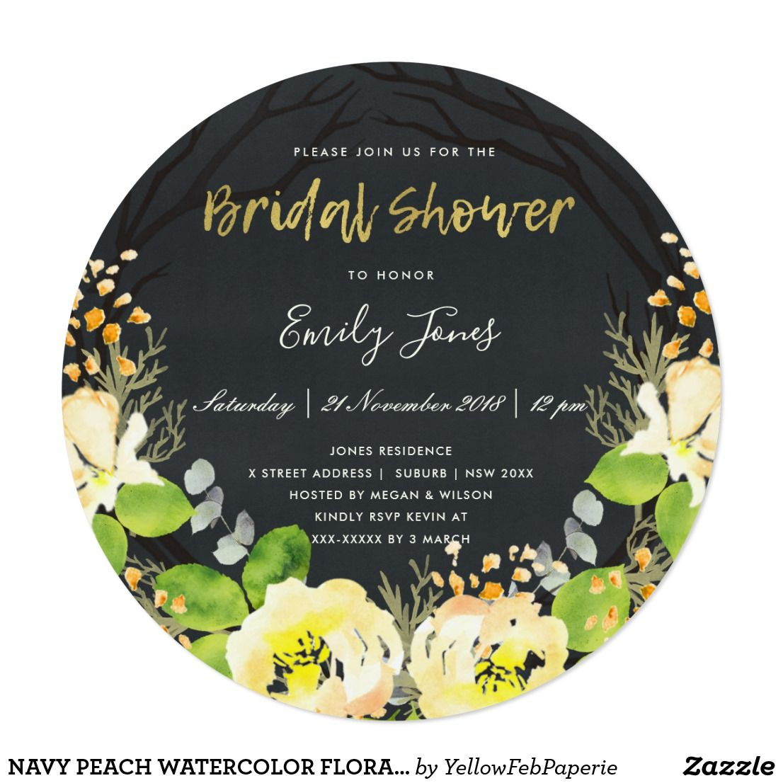 Yellow wedding decorations ideas november 2018 Navy peach watercolor floral wreath bridal shower card