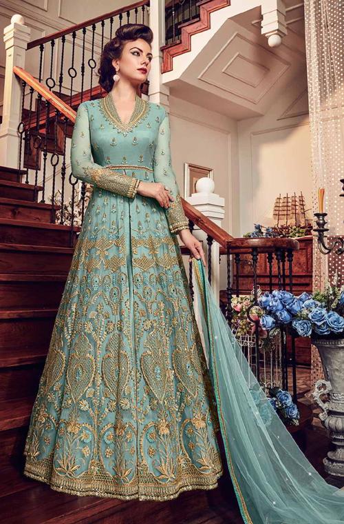 dd86b87e39 Light Blue Designer Heavy Embroidered Net Bridal Pant Style Anarkali ...