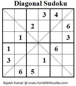 Diagonal Sudoku (Mini Sudoku Series #17) | Printable Puzzles