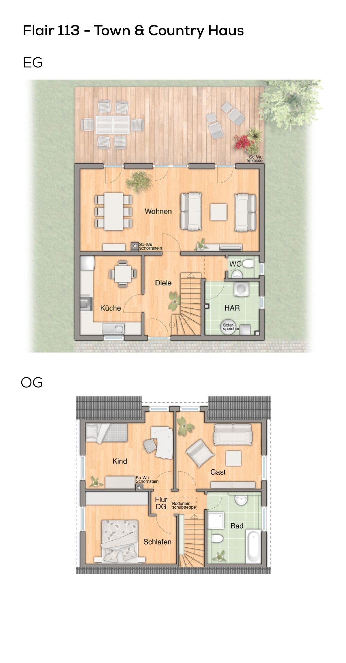 Einfamilienhaus Grundriss klassisch mit Satteldach