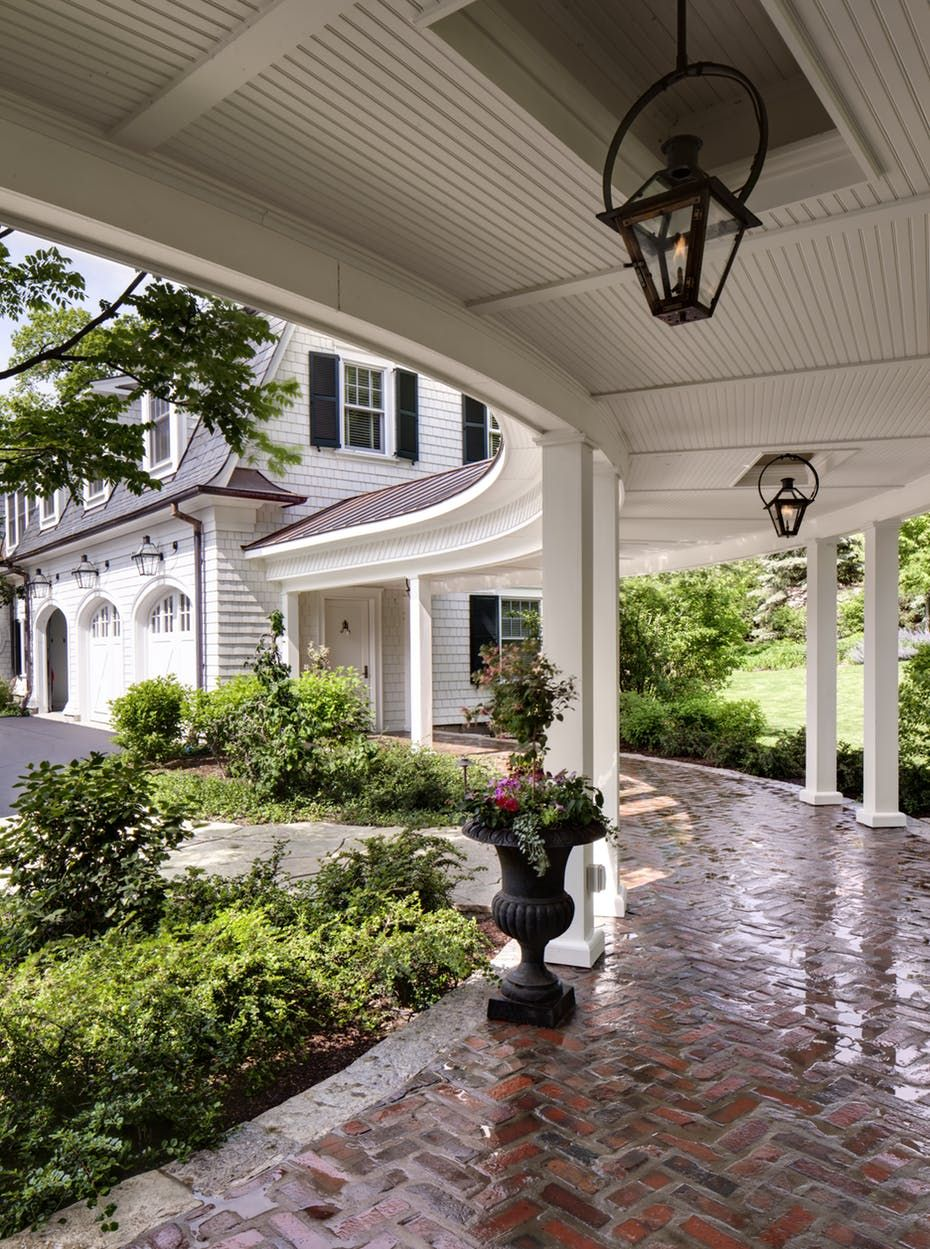 lush landscaping ideas. A Classic Loggia Paired With Beautiful Brick Walkway And Lush Landscaping By Wade Weissmann Architecture Inc. - Lookbook Dering Hall Ideas O