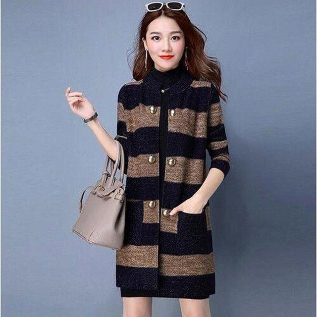 Spring Women Sweater Jacket 2017 New Fashion Long Sleeve Striped knitte Cardigan Female Costume Plus Size Women Basic Coat AC109