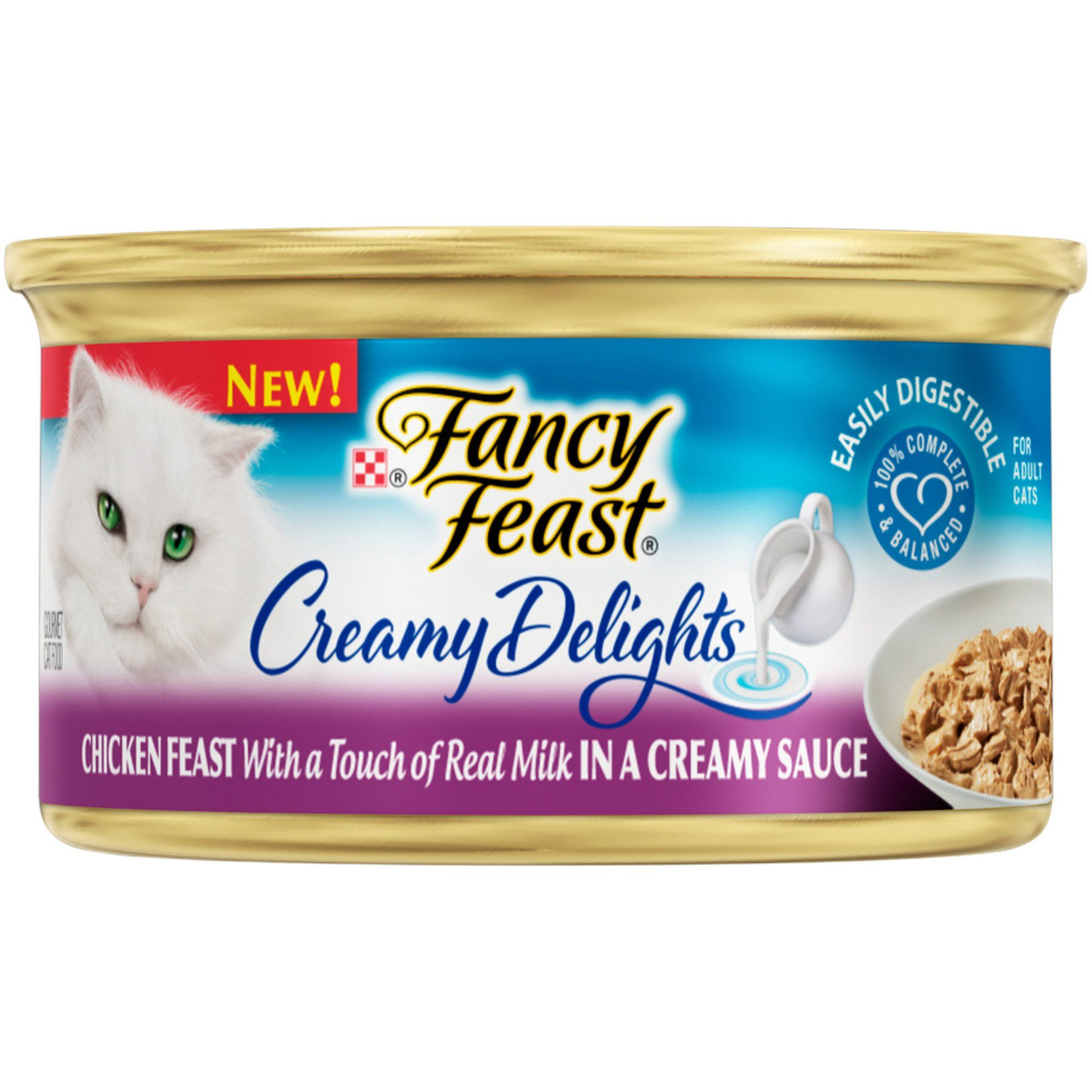 Purina Fancy Feast Creamy Delights Chicken Feast With A Touch Of Real Milk In A Creamy Sauce Adult Wet Cat Food 3 Oz Can Creamy Sauce Cat Food Food