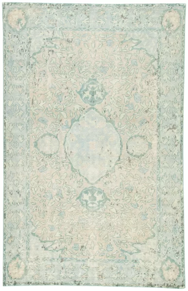 Bungalow Rose Kamren Overdyed Hand Knotted Blue Beige Area Rug