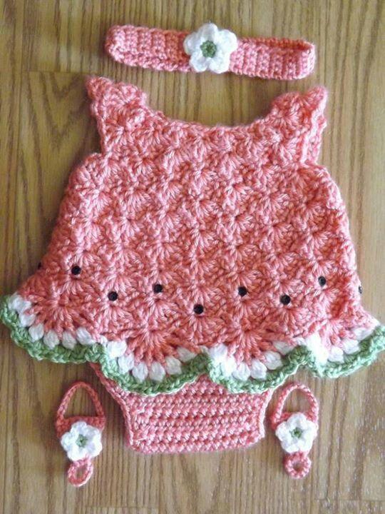 Crocheted Watermelon Dress Set For Newborn Girl Crochet Patterns