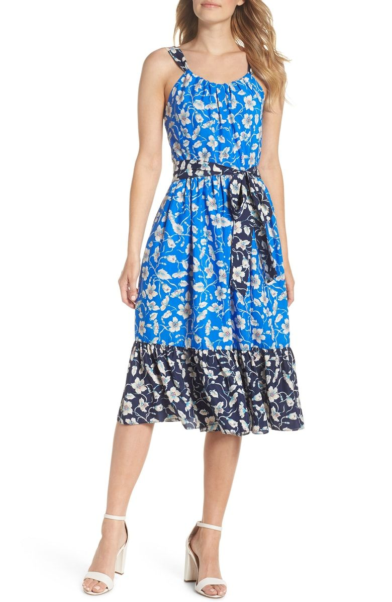 e84ae0363033 Free shipping and returns on Eliza J Floral Bow-Back Sundress at  Nordstrom.com. Twirl under the sun in this ultrafeminine frock styled in a  two-toned floral ...