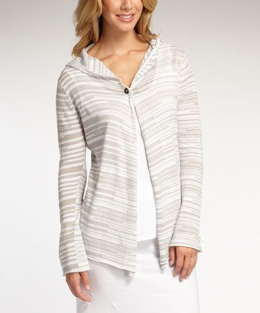 Another great find on #zulily! Light Gray & White Stripe Hooded Organic Cardigan by Indigenous #zulilyfinds
