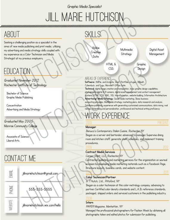 Custom Unique Resumes by jillmarieprints on Etsy, $1500 Career - digital assets management resume