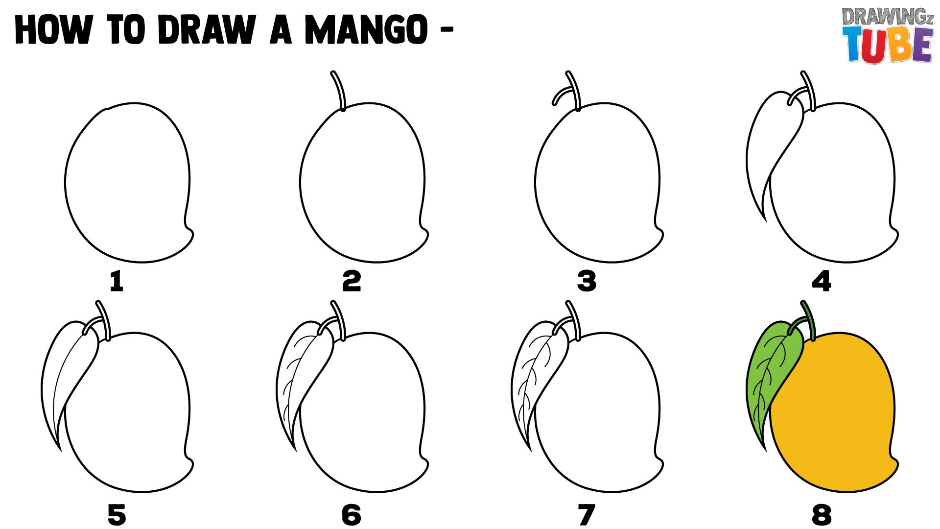 How To Draw A Mango For Kids Step By Step Drawing For Kids In 2019