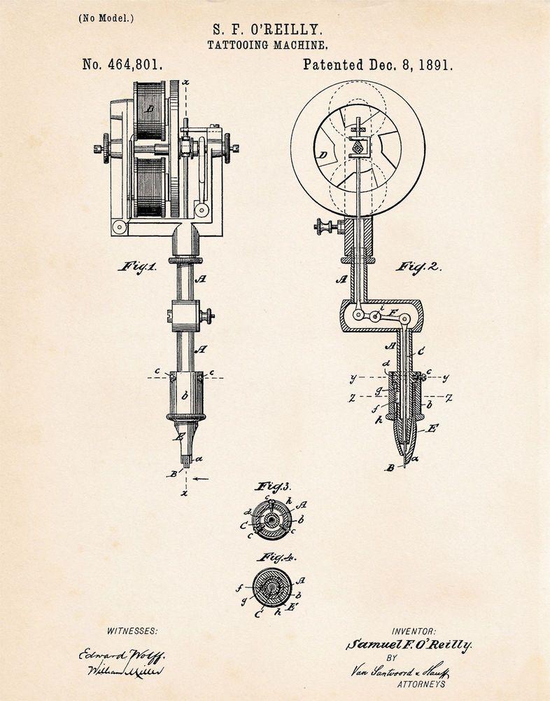 1891 Tattoo Artwork Machine Gun Patent Print Poster Drawing - new blueprint gun art