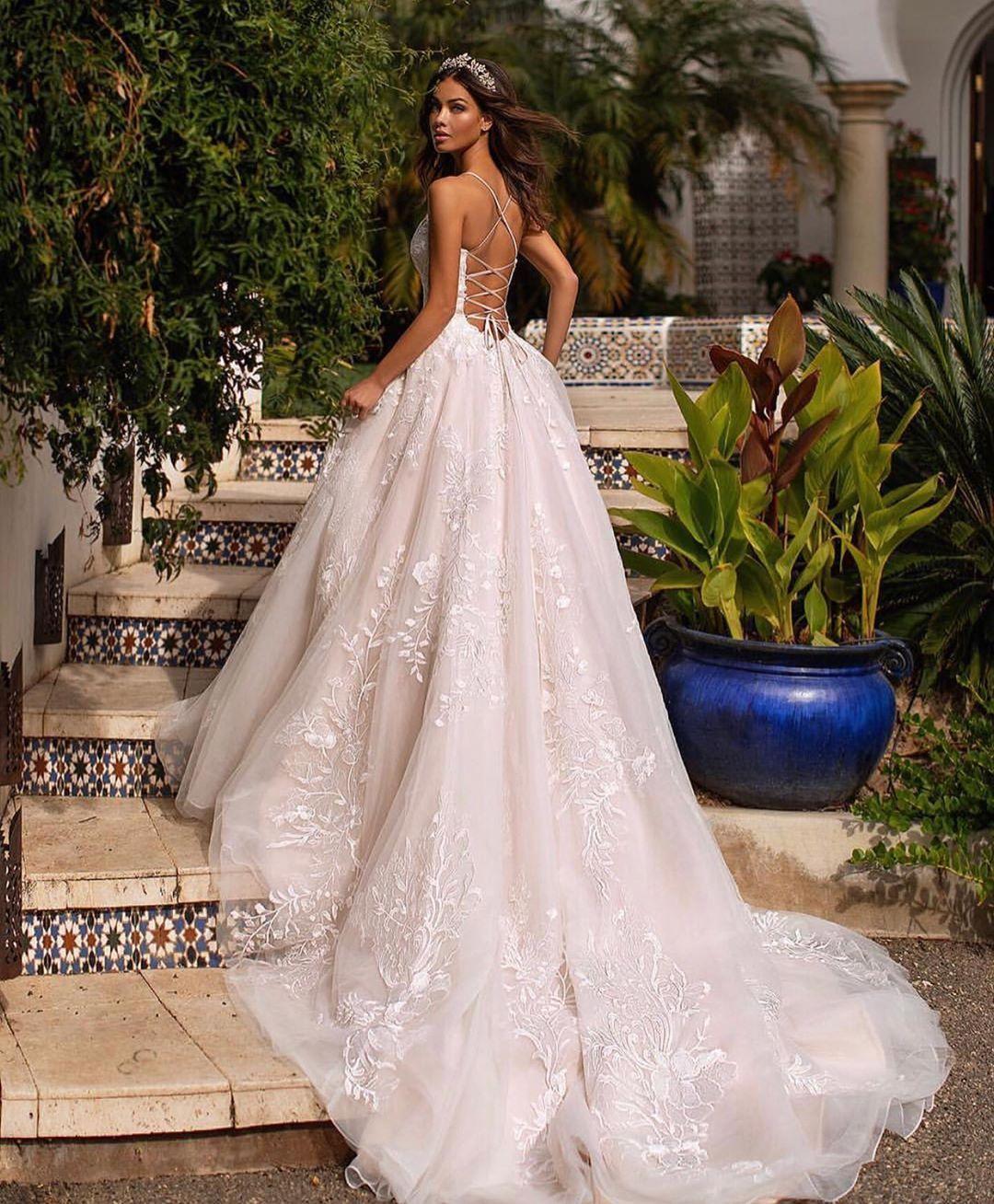 Luxebrideguide On Instagram Loving A Crisscross Back Moment Gown Moonlightbridal Style H1 Wedding Dresses Satin Wedding Dress Trends Dream Wedding Dresses