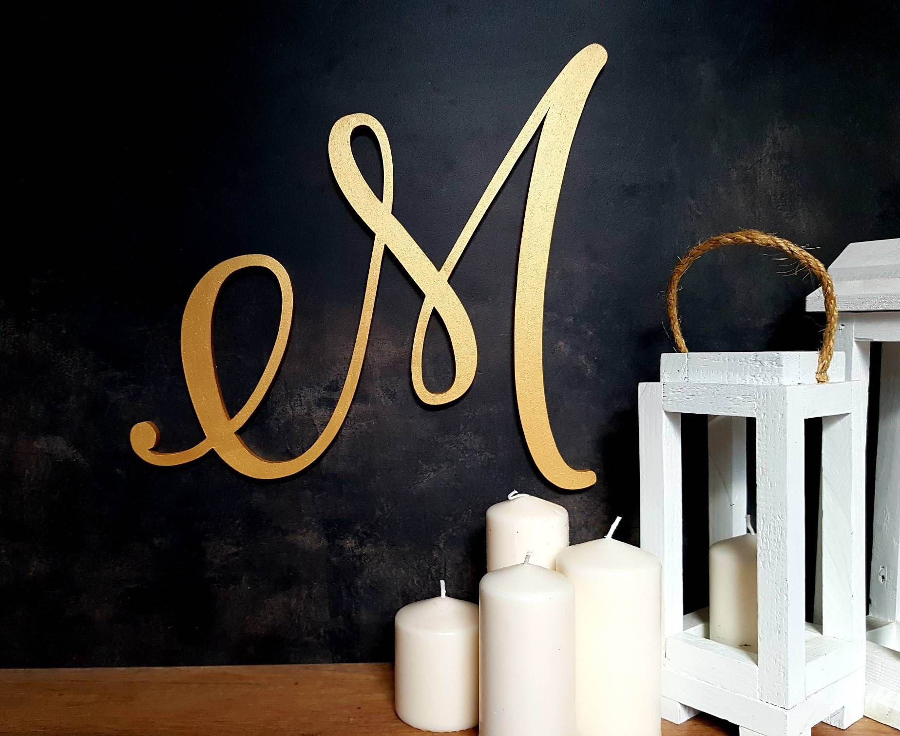 Extra Large Wood Letter Initial Wall Hanging Wedding Backdrop Letter Sign Decorative Gold Monogram M Wooden Wall Decor Calligraphy Initial Large Wooden Letters Wooden Letters Large Wood Letters