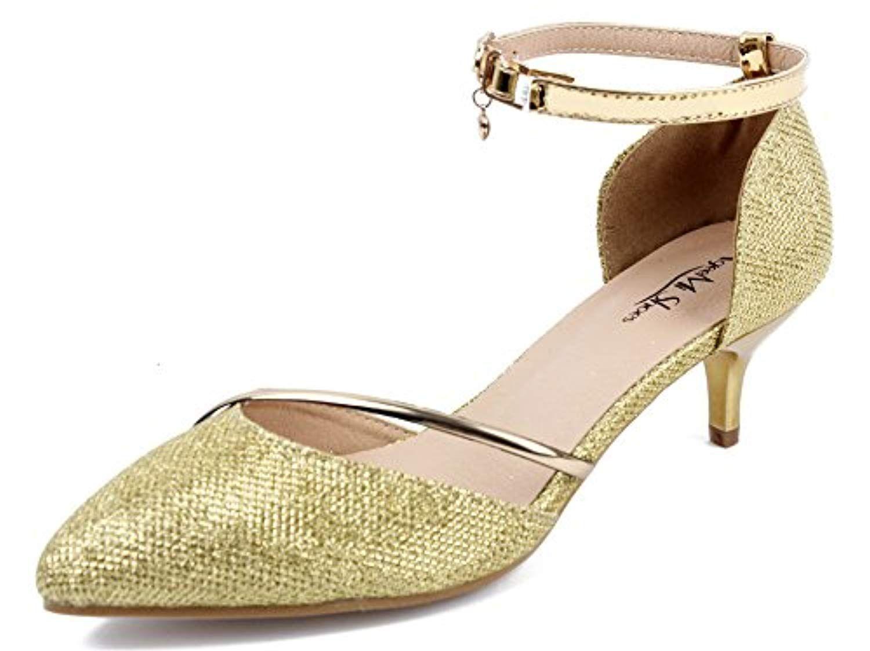 0f4e5e96d72e9b AgeeMi Shoes Femmes Escarpins Petit Talon Sexy Femme Boucle Paillette Chaussures  Escarpin doré 2018