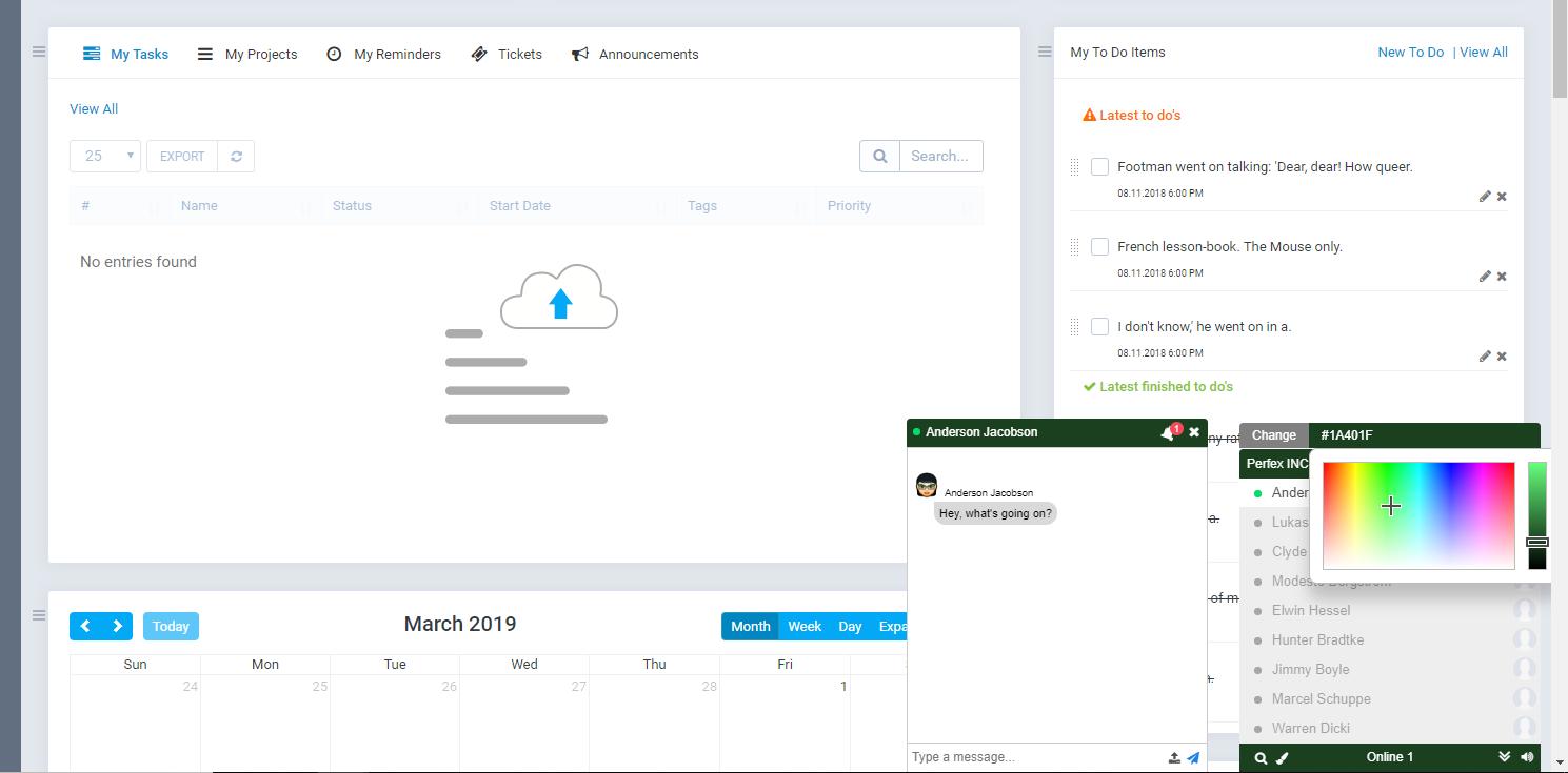Perfex CRM Employee Chat | Homescreen photography | Desktop