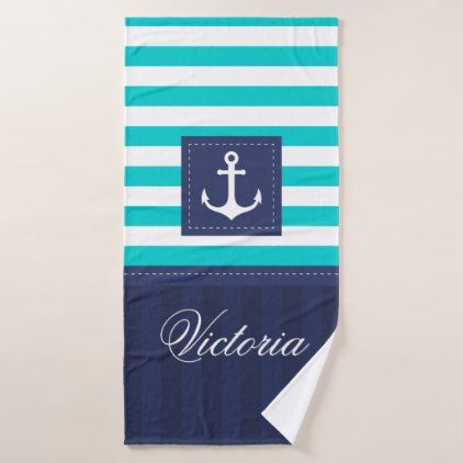 Personalized Anchor Nautical Navy Hooded Towel
