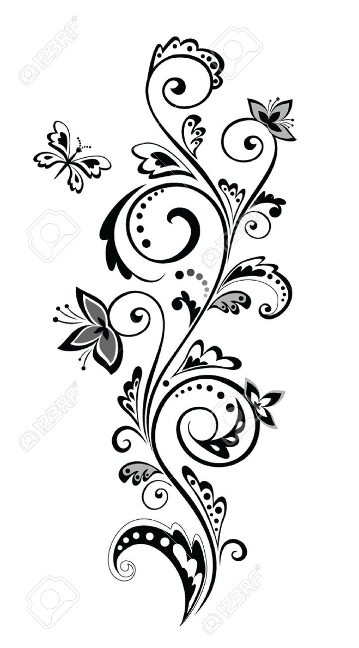 18944348 Vintage Border Stock Vector Black Flower White 721x1300