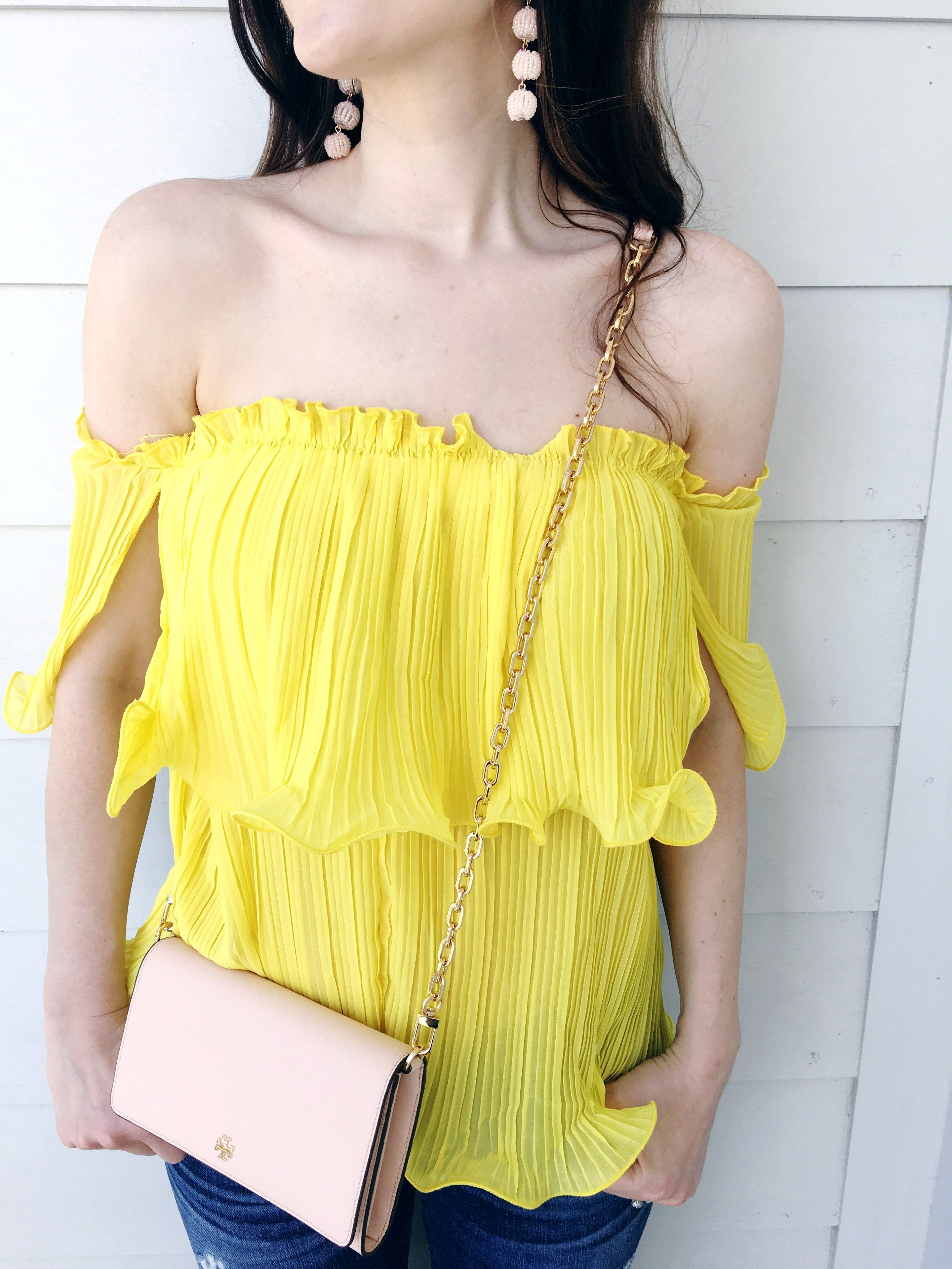 40d720528d237 Yellow Off the Shoulder Top - Veronika s Blushing
