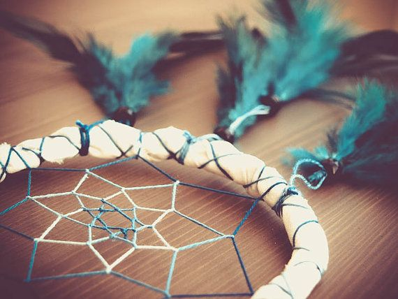 Dream Catcher - Turquoise Joy - With Natural Turquoise Blue Feathers, White Frame and White-Blue Transitional Nett - Home Decor, Mobile #photo #photography #art #dream #dreamy #dreamcatcher #catcher #catcer #feather #feathers #love #lovely #white #black #pigeon #awesome #beautiful #bird #fly #birds #hippie #hipster #native #american #dreamer #bohemian #nice #unique  #child #children #childhood #gift #idea #craft #crafy #inspiration #cradle #turquoise #blue #joy #joyful #happy $19