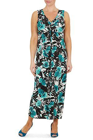 f95456c94f Ladies Blue David Emanuel Floral Print Knot Front Maxi Dress Bonmarché