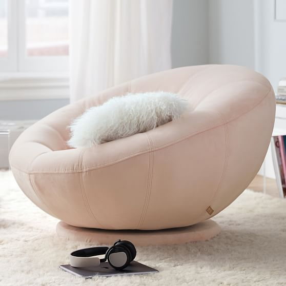 Performance Everyday Velvet Gray Groovy Swivel Chair Lounge Chairs Living Room Comfortable Bedroom Decor Girls Bedroom Furniture